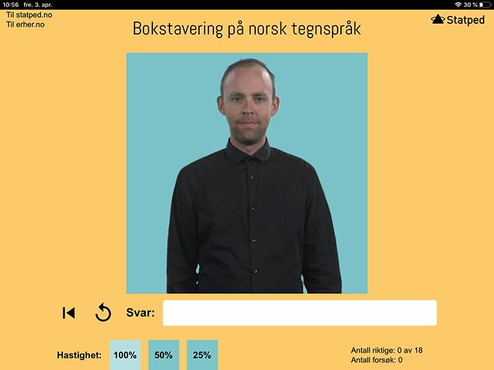 skjermdump, viser språkmodel og nettsiden.